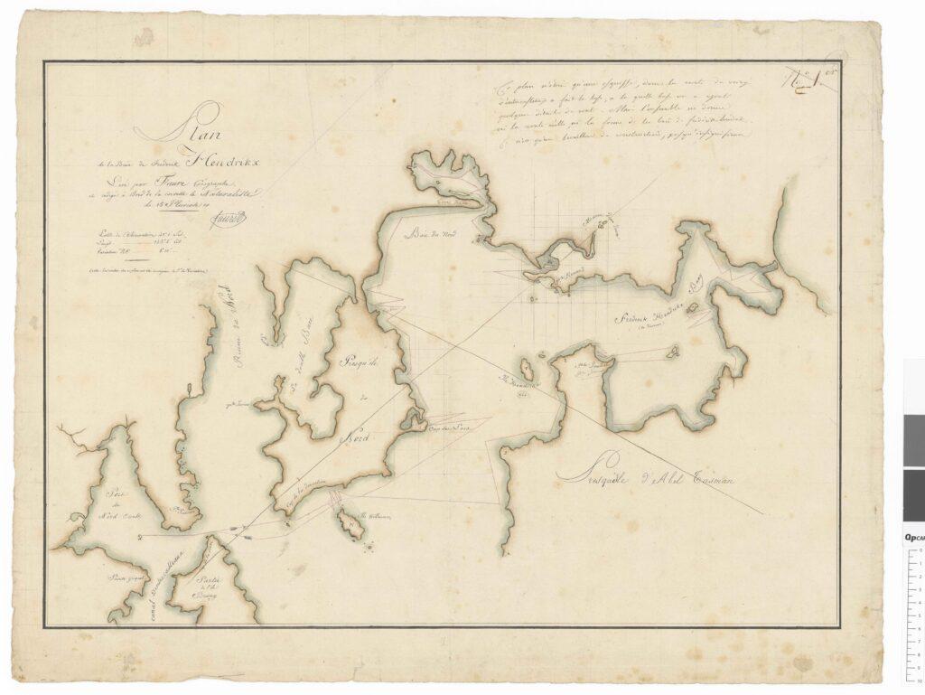 Plan de la baie Frederik HENDRIKX, levé par Faure Geographe et redige à bord de la corvette le Naturaliste le 15 pluviose 10