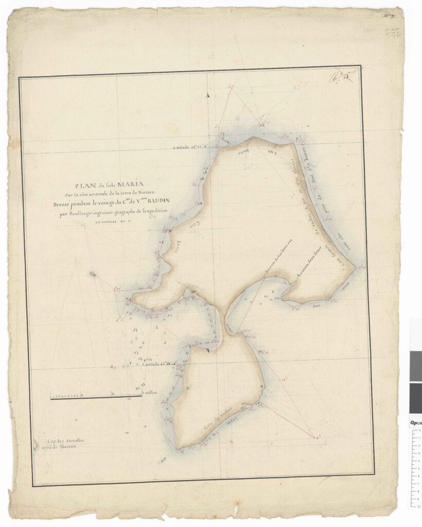PLAN de l' isle MARIA, Sur la côte orientale de la terre de Diemen, dressé pendant le voiage du C. de V. BAUDIN, par Boullanger ingenieur Géographe de l'expedition en ventose an X