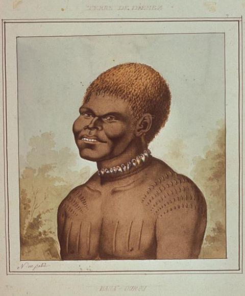 N.-M. Petit, Aboriginal man, Bara-ourou, Van Diemen's Land.